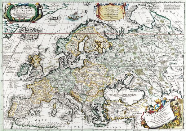 Coronelli, Vincenzo: Map of Europe. Antique/Vintage 17th Century Map. Fine Art Print/Poster. Sizes: A4/A3/A2/A1 (003885)